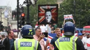 Crowds chant 'free Tommy Robinson' in protest supporting jailed ex-EDL leader