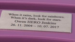 A bench has been unveiled in memory of Owen 'Hero' Jenkins