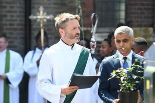 Sadiq Khan attends the dedication of the Grenfell fire memorial garden.