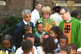 Sadiq Khan and Bishop of London Sarah Mullally attend the dedication.