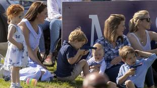 Kate, George and Charlotte relax in the sunshine at William's charity polo match
