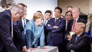 The German chancellor shared a telling image of the US president's relationship with his fellow G7 leaders.