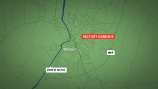 A 100m cordon is in place around Rectory Gardens in Wisbech