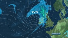 Forecast chart for midweek.  Stronger winds and a spell of rain by the end of the day bringing a fresher outlook
