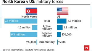 North Korea v US: Military forces in numbers