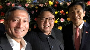 Singapore Minister for Foreign Affairs, Vivian Balakrishnan takes selfie with Mr Kim on his late night stroll.