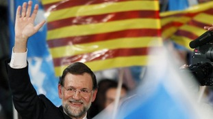Mariano Rajoy at a campaign rally in Barcelona in November 2011