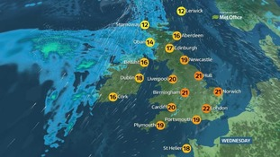 Wednesday's weather: Sunshine for England and Wales, but showers for Northern Ireland and Scotland