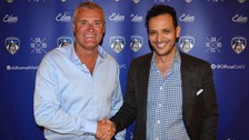 Frankie Bunn and Oldham owner Abdallah Lemsagam