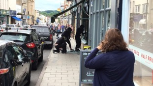Members of the gang smash glass into jewellers