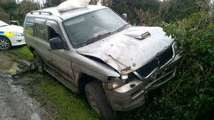 Shepherd's vehicle after the chase.