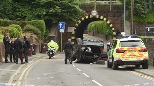 Police at the scene in Huyton.