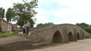 The 15th Century packhorse bridge at Moulton in Suffolk.