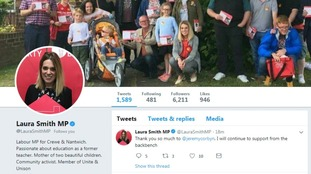 Labour MP Laura Smith takes to Twitter as she and others quit shadow roles over Brexit amendment vote