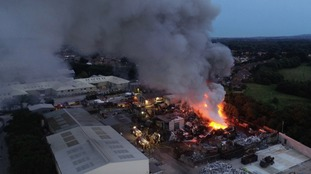 6,000 tonnes of scrap metal on fire in East Sussex