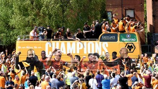 Wolves celebrate winning promotion to the Premier League
