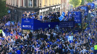 Leicester City celebrate winning the Premier League in 2016