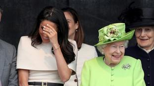 The Duchess of Sussex and the Queen at the opening of the new Mersey Gateway Bridge, in Widnes.