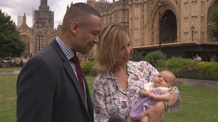 Clive Lewis MP with his wife Katy and new baby daughter Zana.