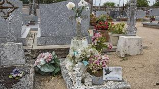 The grave of the girl found dead along the A10 freeway.