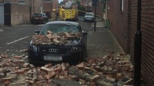 House collapses onto car during Storm Hector