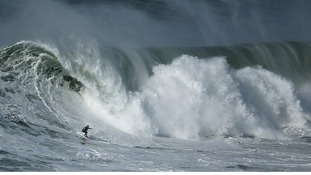 Portuguese big-wave surfer Hugo Vau drops in on a large wave at Praia do Norte in Nazare
