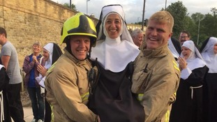 Show goes on as 'nuns' take part in fire alarm drill