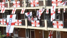 Estate covered with England flags as fans show World Cup support