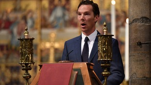 The actor Benedict Cumberbatch was among the speakers at the Westminster Abbey ceremony.