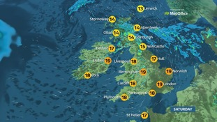 Temperatures will be a high of 19C in the south of England.