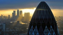 The financial district of Canary Wharf, seen from the 'Gherkin' in the heart of the city of London