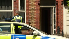 Police at the scene in Wilderspool Causeway.