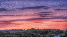 Red sky in the morning in Graveley Hertfordshire