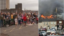 Newport church destroyed by fire holds service in nearby car park