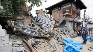 The gate of tourist attraction Myotoku-ji temple was destroyed.