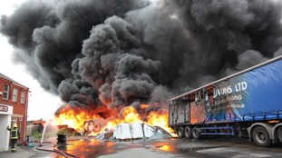 Thousands of tonnes of plastic caught fire at the site yesterday.