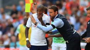 England manager Gareth Southgate instructing Ashley Young