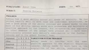 Ashley Young's school report