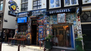 Though cannabis is illegal in Holland, decriminalisation means coffeeshops like this one are commonplace.