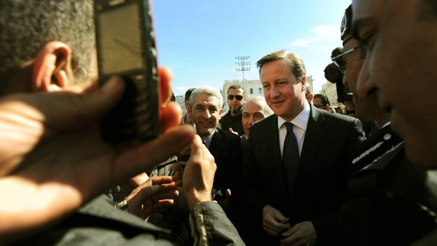 Cameron met local market traders and visitors in Martyrs Square