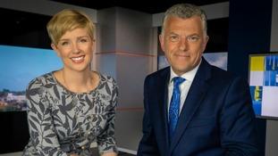 Becky Jago and Jonathan Wills in the ITV News Anglia studio.
