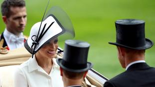 Meghan looks striking in Philip Treacy hat and Givenchy dress at Royal Ascot