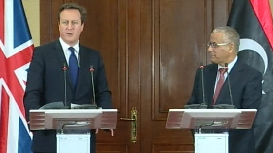 David Cameron at the press conference in Libya