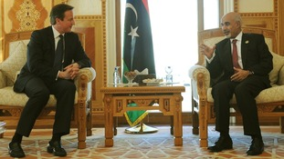David Cameron meets Libyan President Megarief at the President's Office in Tripoli