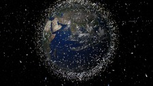 An illustration showing how much debris could be in low earth orbit.