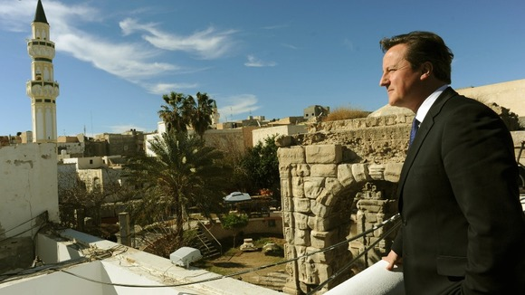 David Cameron looks out over Tripoli before meeting the Libyan Prime Minister Ali Zeidan
