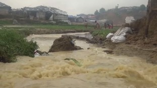 Monsoon rains have devastated parts of the camp.