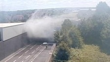 Traffic jam on the M25 caused by fire in tunnel