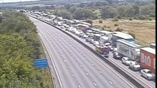 Traffic queues on the M25 following the fire in the Holmesdale Tunnel in Hertfordshire.