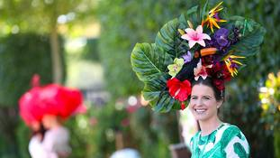 Racegoer Charlotte Ricard-Quesada wearing a floral hat during day three of Royal Ascot